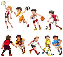 Homme et femme jouant différents types de sport