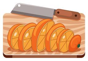Une orange sur une planche à découper vecteur