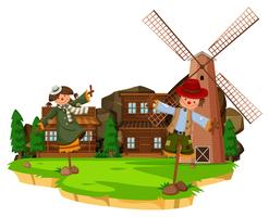 Scène de ferme occidentale avec épouvantails et moulin à vent vecteur