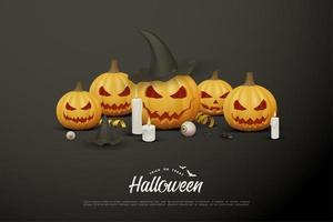 il y a une fête de citrouille d'halloween souriante. vecteur