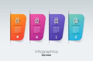 conception d'infographie et icônes avec 4 étapes vecteur