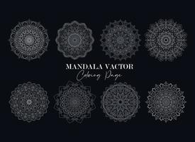 vecteur libre de vecteur de collection de mandala. ensemble de fleurs circulaires mandala