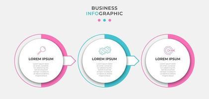 modèle de conception infographique avec icônes et 3 options ou étapes vecteur