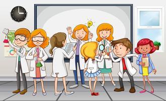 Scientifiques et enseignants en classe vecteur