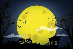 citrouilles d'halloween et maison sombre sur fond de lune jaune. vecteur