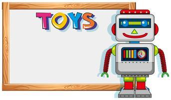 Cadre en bois avec jouet robot