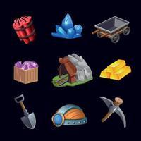 jeu d'icônes de conception de jeux miniers illustration vectorielle vecteur