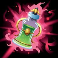 Potion magique colorée bouteille de poison composition vector illustration