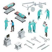 isométrique, chirurgien, icônes, collection, vecteur, illustration vecteur