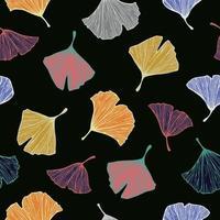vecteur, coloré, ginkgo, arbre, feuille, illustration, modèle, seamless, modèle vecteur