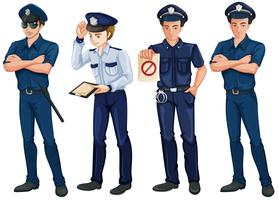 Quatre policiers vecteur