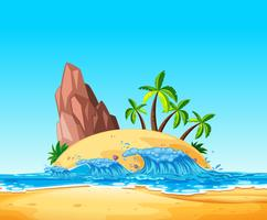 Une île tropicale et une vague vecteur