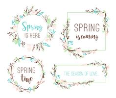 Ensemble de cadres de printemps de branches et de feuilles.