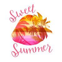 Imprimé d'été sur plage tropicale avec slogan pour t-shirts, affiches, cartes et autres usages