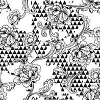 Modèle sans couture de tissu éclectique. Fond géométrique avec ornement baroque