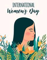 Journée internationale de la femme. Modèle vectoriel avec femme métisse et fleurs