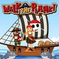 marcher sur la bannière de police de planche avec une fille pirate debout sur la planche vecteur