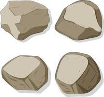 ensemble de différentes formes de pierres isolé sur fond blanc vecteur