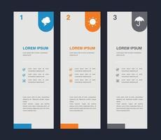 bannière infographique avec modèle vectoriel à 3 options pour la présentation
