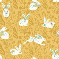 Modèle sans couture de vecteur avec des lapins pour Pâques et autres utilisateurs.
