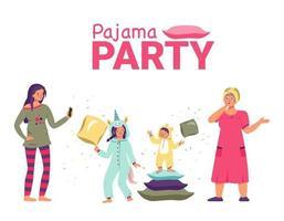 soirée pyjama avec enfants, maman et grand-mère. vacances en famille vecteur