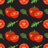 modèle sans couture avec tomates et feuilles d'épinards, roquette vecteur
