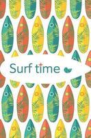 modèle sans couture lumineux avec des planches de surf et des branches de palmier vecteur