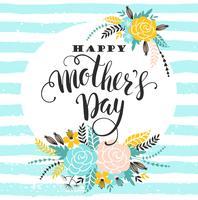 Bonne fête des mères lettrage carte de voeux avec des fleurs. vecteur