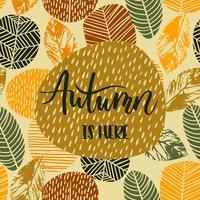 Conception de lettrage avec automne abstrait avec des feuilles. vecteur