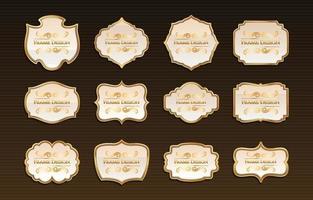 ensemble de conceptions de cadre vintage doré vecteur