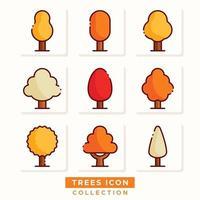 collection d'icônes d'arbres d'automne vecteur