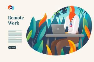 Travail à distance. Modèle de page de destination Web vecteur