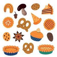 ensemble de divers aliments de pâtisserie et feuilles d'automne vecteur