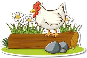 poulet debout sur une bûche avec un autocollant d'élément de nature vecteur