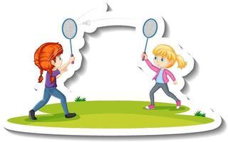 autocollant de personnage de dessin animé de deux filles jouant au badminton vecteur