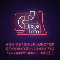 icône de néon de jeux de société en ligne vecteur