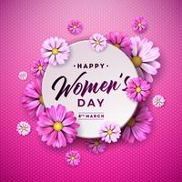 8 mars. Carte de voeux Floral Happy Womens Day vecteur