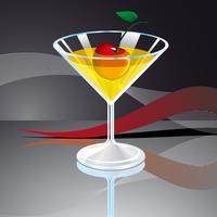 illustration vectorielle avec verre à boire et cerise