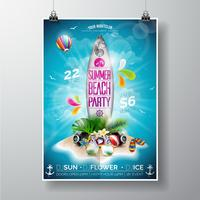 Summer Beach Party Flyer Design avec planche de surf et île paradisiaque vecteur
