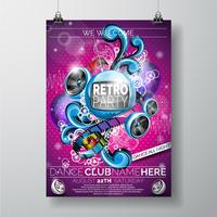 Vector Retro Party Flyer Design avec fond rose de haut-parleurs.
