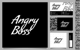 modèle de logotype de minimalisme de patron en colère avec carte de visite et motif vecteur