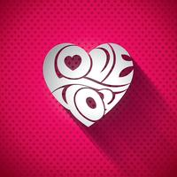 Illustration vectorielle de Saint Valentin avec la conception de typographie 3d Love You