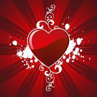 illustration de la Saint-Valentin avec une belle cheminée sur fond rouge