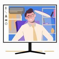 parler en ligne. homme sur l'écran du moniteur. travail à domicile, indépendant vecteur