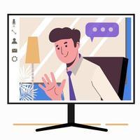 discuter en ligne. homme sur l'écran du moniteur. travail à la maison, vecteur