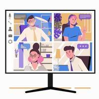 travail à domicile, freelance, travail à distance en équipe. chat en ligne vecteur