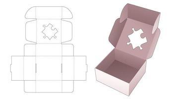 boîte de boulangerie en carton avec gabarit découpé au pochoir en forme de scie sauteuse vecteur