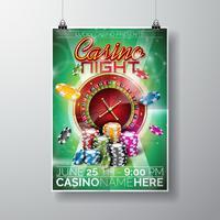 Conception de Vector Party Flyer sur un thème de casino avec jetons et roue de roulette