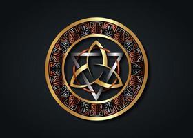 le grand sceau de triquetra d'or avec triangle d'argent, cercle de bronze vecteur