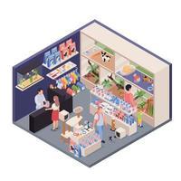 illustration vectorielle isométrique de boutique d'animaux exotiques vecteur